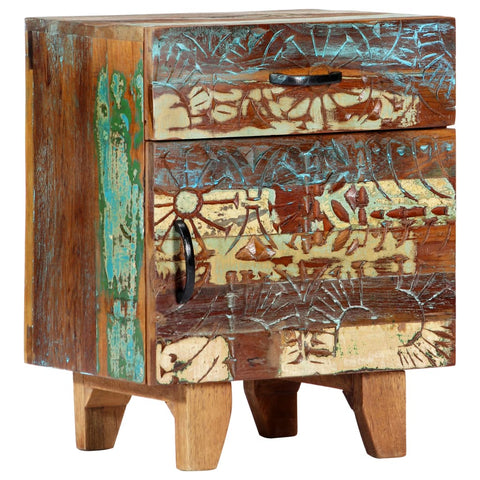 Hand Carved Bedside Cabinet 15.7x11.8x19.7 Solid Reclaimed Wood