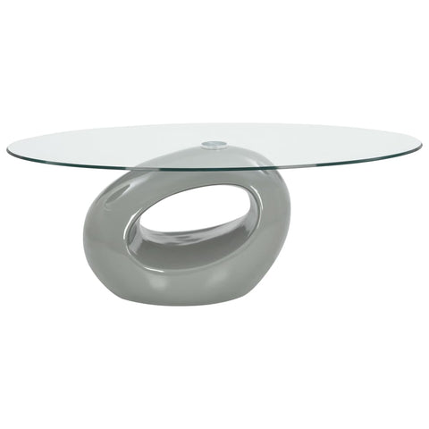 Coffee Table with Oval Glass Top High Gloss Gray