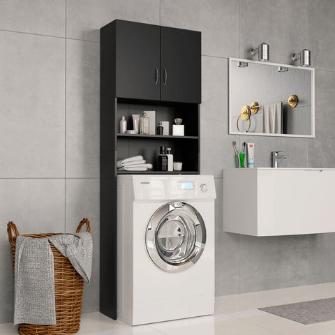 Washing Machine Cabinet Black 25.2x10x74.8 Chipboard
