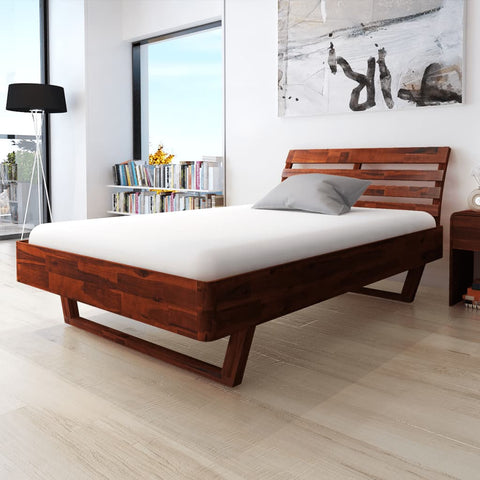 Bed Frame Solid Acacia Wood 55.1x78.7
