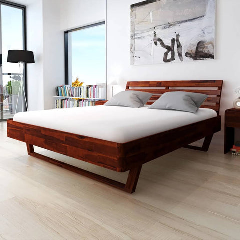 Bed Frame Solid Acacia Wood 70.9x78.7
