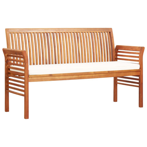 3-Seater Garden Bench with Cushion 59 Solid Acacia Wood