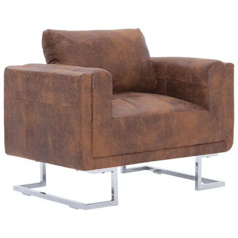 Cube Armchair Brown Faux Suede Leather