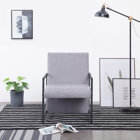 Armchair with Chrome Feet Light Gray Fabric