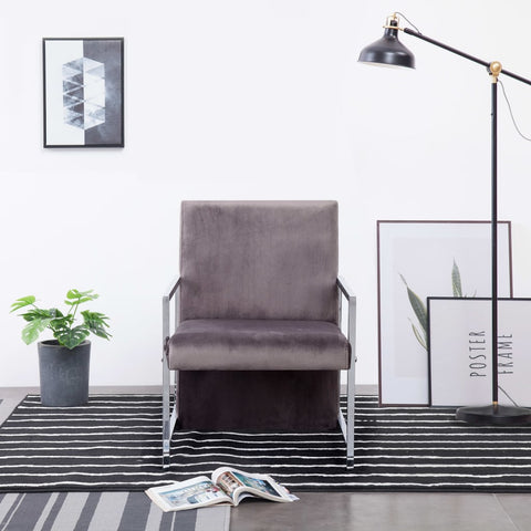 Armchair with Chrome Feet Dark Gray Velvet