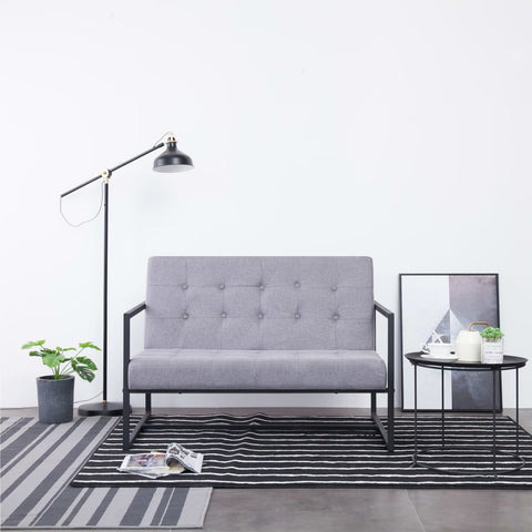 2-Seater Sofa with Armrests Light Gray Steel and Fabric