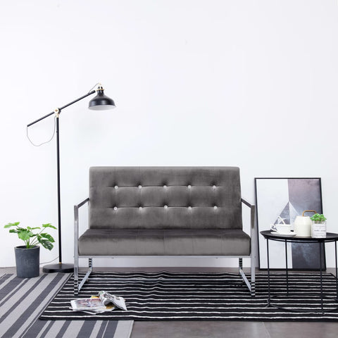 2-Seater Sofa with Armrests Dark Gray Chrome and Velvet