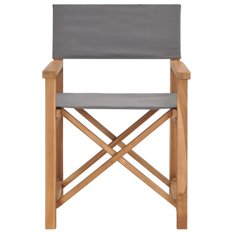 Director's Chair Solid Teak Wood Gray