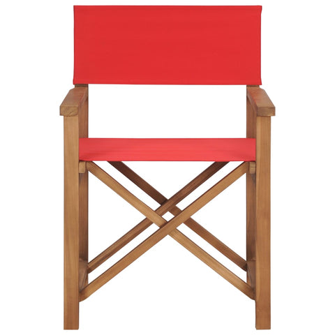 Director's Chair Solid Teak Wood Red