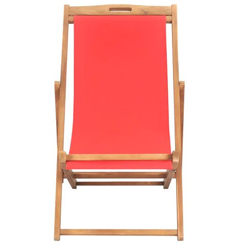 Folding Beach Chair Solid Teak Wood Red