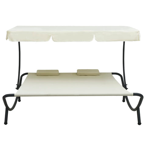 Outdoor Lounge Bed with Canopy and Pillows Cream White