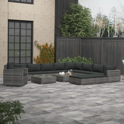 13 Piece Garden Lounge Set with Cushions Poly Rattan Gray