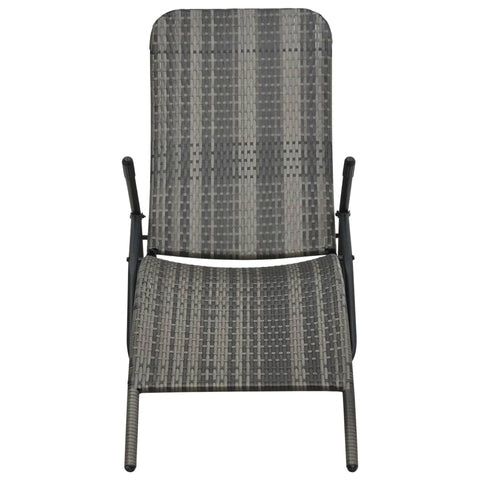 Folding Sun Lounger Poly Rattan Gray
