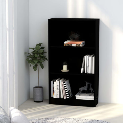 3-Tier Book Cabinet Black 23.6x9.4x42.5 Chipboard