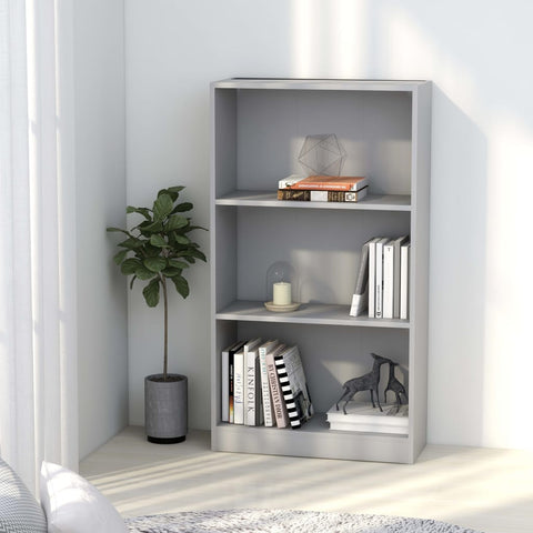 3-Tier Book Cabinet Gray 23.6x9.4x42.5 Chipboard