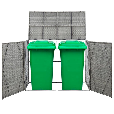 Double Wheelie Bin Shed Anthracite 60.2x30.7x47.2 Poly Rattan