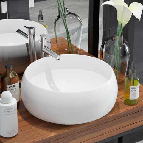 Basin Round Ceramic White 15.7x5.9