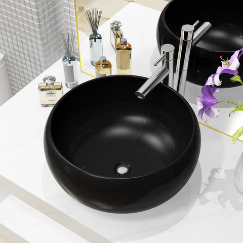 Basin Ceramic Round Black 15.7x5.9