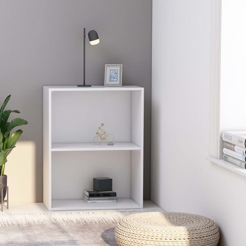 2-Tier Book Cabinet White 23.6x11.8x30.1 Chipboard