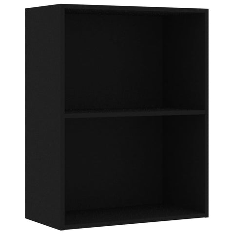 2-Tier Book Cabinet Black 23.6x11.8x30.1 Chipboard