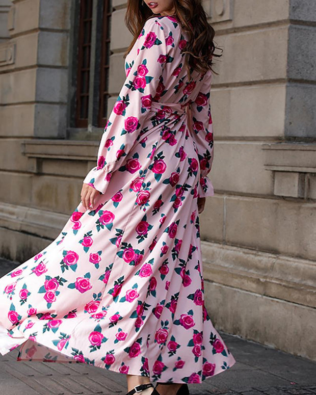 Floral Print Plunge High Slit Maxi Dress