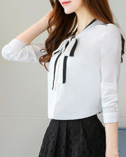 Tie Neck Button Up Slim Fit Blouse
