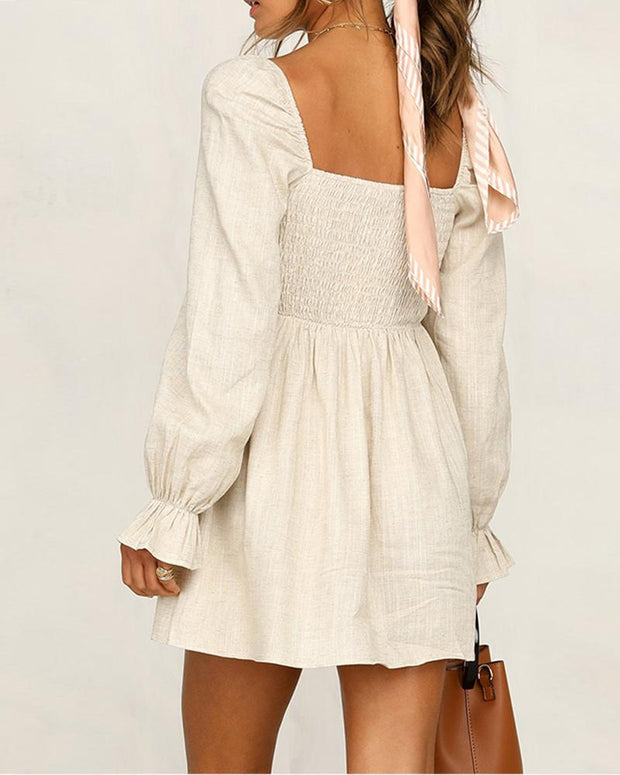 Lantern Sleeve Elastic Sleeve Slim Sweet Long Sleeve Dress