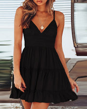 V-neck Spaghetti Strap Ruffles Dress
