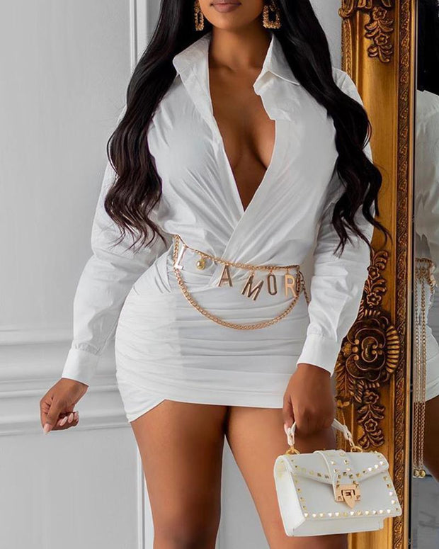 Deep V Neck Solid Package Hip Dress Without Belt