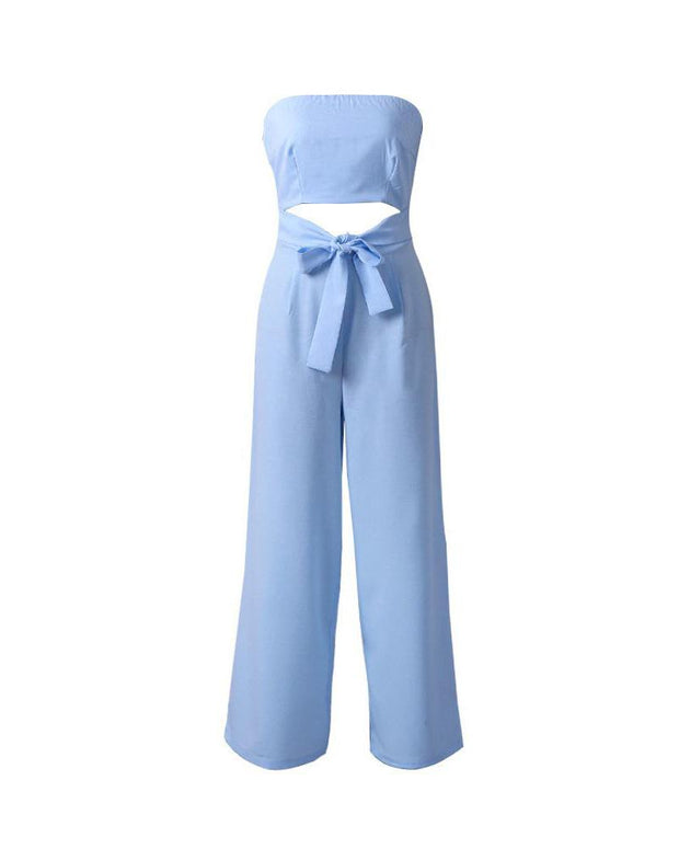 2019 fashion one-piece collar jumpsuit umbilical bandage trousers