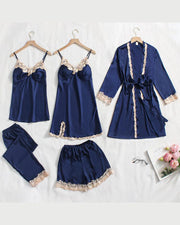 Satin Lace Trim 5pcs Pajama Set