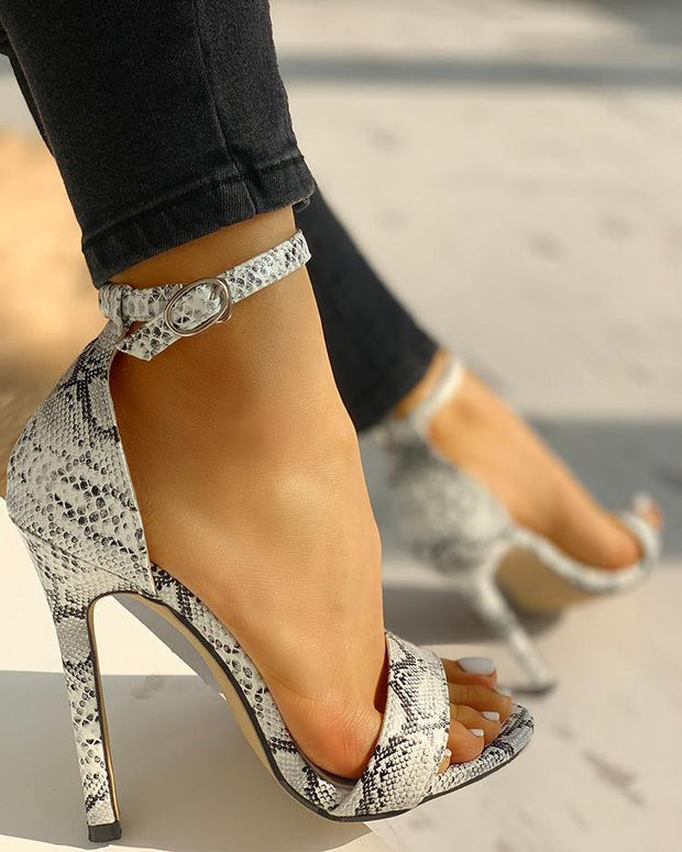 Snakeskin Open Toe Thin Heeled Sandals