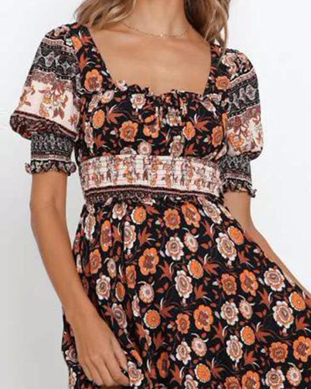 Floral Square Neck Mini Dress