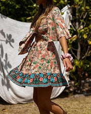 Boho Print Tie Front Mini Dress