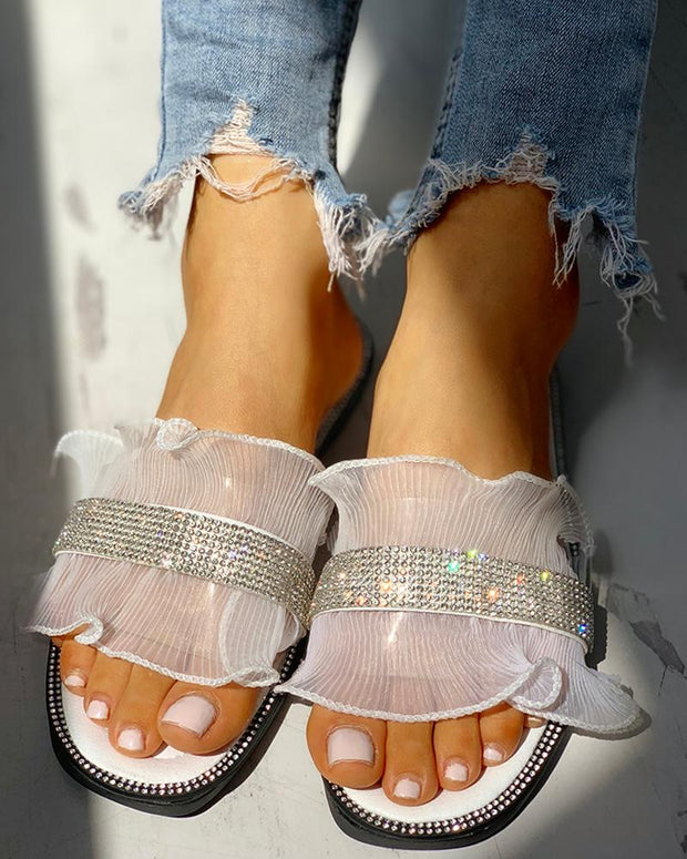 Studded Ruffles Mesh Design Casual Sandals
