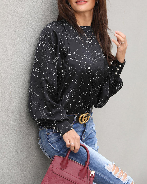 Space Print Lantern Sleeve Button Detail Blouse