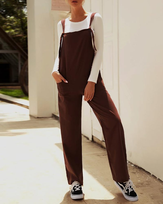 Solid Sleeveless Casual Suspender Jumpsuit