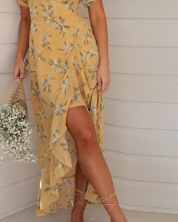 Floral V Neck Ruffle Hem Dress