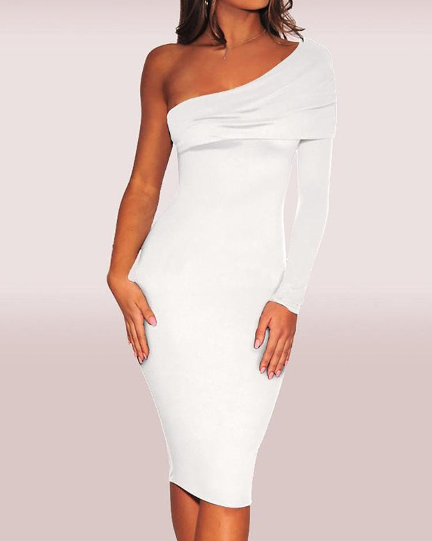 Fold-Over One Shoulder Dress