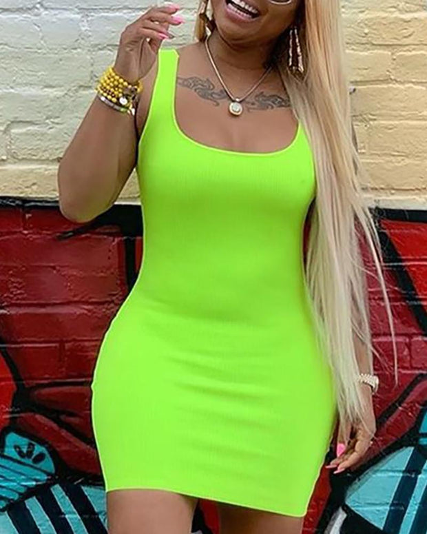 Solid Color Thin Strap Bodycon Dress