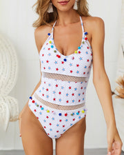 Star Print Pom Pom Backless One Piece Swimwear