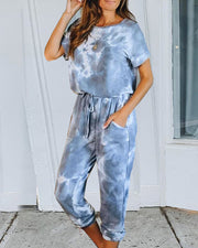 Tie Dye Print Pockets Top & Pants Set