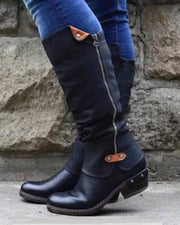 Solid Side Zipper Biker Boots