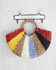 Ring Handle Straw Tote Bag