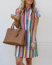 Striped lapels dress