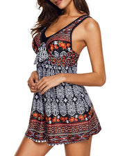 Ethnic Print Open Back Swimdress With Panty