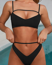 Spaghetti Strap Cut Out Bikini Sets