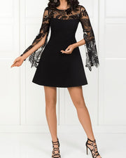 Lace Yoke Plant Applique Slit Sleeve Dress