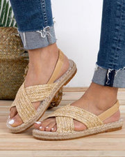 Cross Woven Flat Sandals