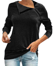 Skew Neck Long Sleeve Top